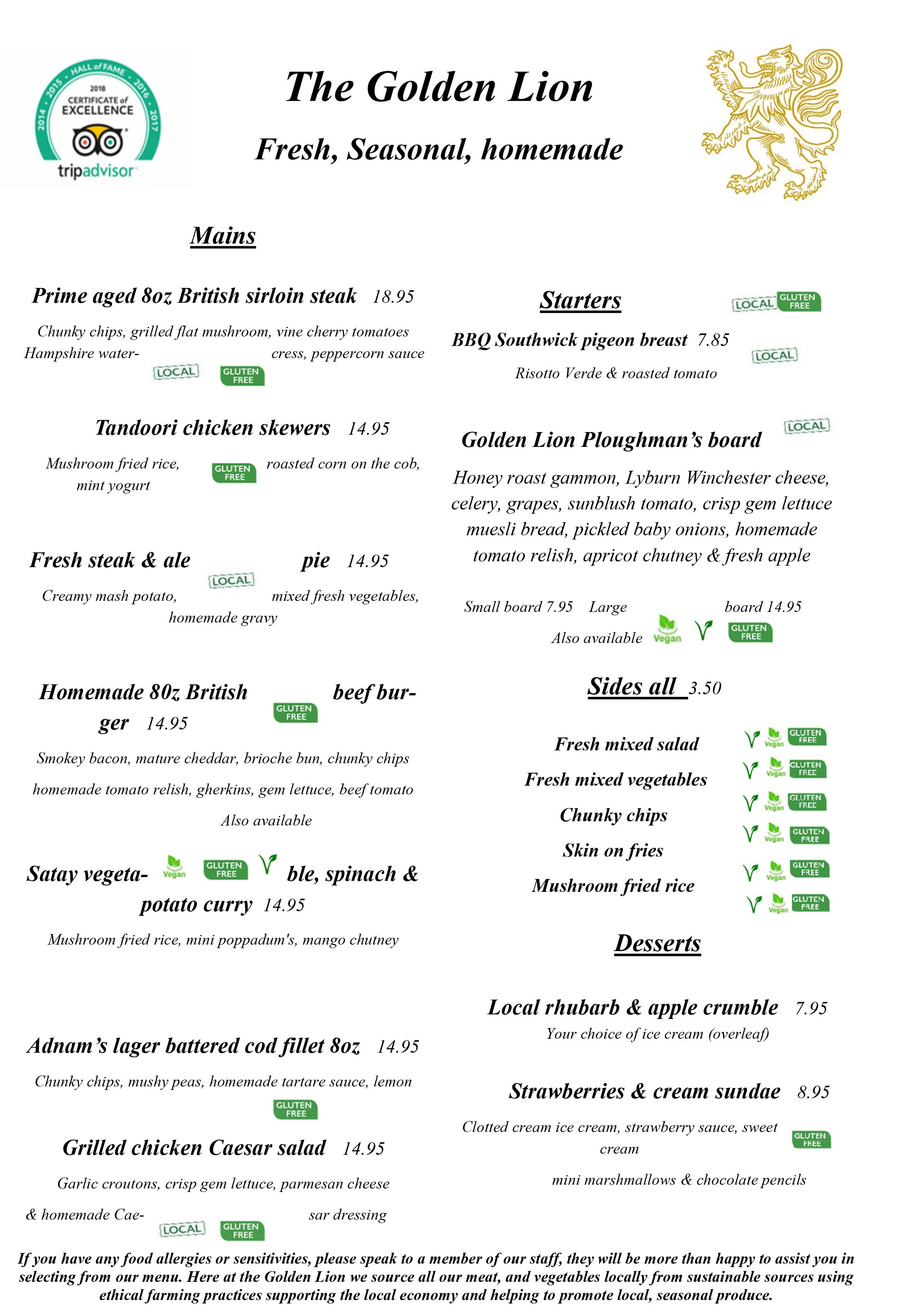 New menu July 2020